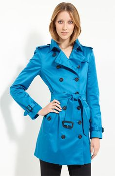 Burberry London Double Breasted Belted Satin Trench