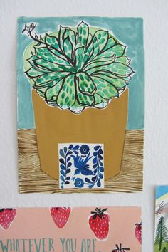 Stephanie Cole postcard drawing project, day9: Succulent & tile still life www.stephaniecole.co.uk