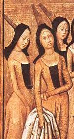 burgundian-gown- under dress transitioning to later period open front dress.