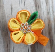 Kanzashi Flower Hairclip Candy Corn colors by LizAnnsbowtique