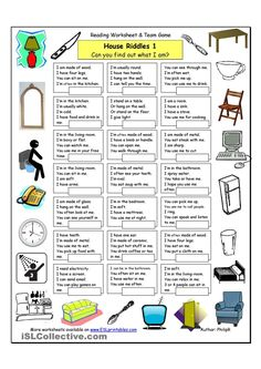 House Riddles - Easy - English ESL Worksheets for distance learning and physical classrooms Vocabulary List, Vocabulary Worksheets, English Vocabulary, Printable Worksheets, Free Printable, English Riddles, English Activities, English Lessons, Learn English