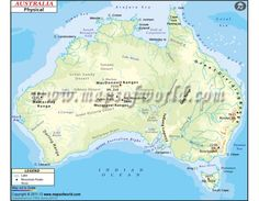 Physical map of Australia showing topographies or trends in elevation with height from sea level, lakes, rivers, mountains ranges, etc. Australia Country, Australia Map, Map Projects, Ayers Rock, Country Maps, Londonderry, Sea Level, Great Barrier Reef, Physics