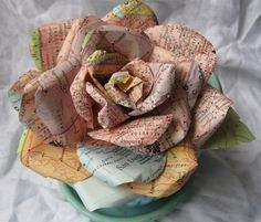 Handmade Paper Rose Vintage Map paper Sherbet shades San Diego Talladega for pin or clip. $14.00, via Etsy.