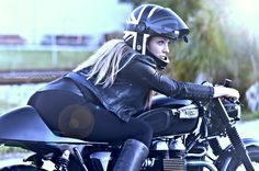 Cafe Racer Girl, Custom Cafe Racer, Cafe Racer Build, British Motorcycles, Triumph Motorcycles, Lady Biker, Biker Girl, White Motorcycle, Motorcycle Girls