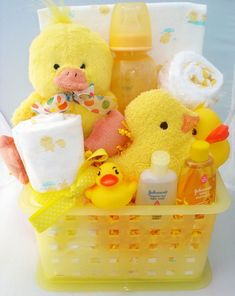 Ducky Baby Gift. Cute baby shower gift idea for baby shower when you don't know the gender ~ so doing this by gabrielle