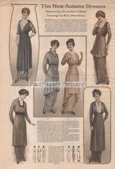 Vintage Edwardian Fashion Print of Women's New Autumn Dresses