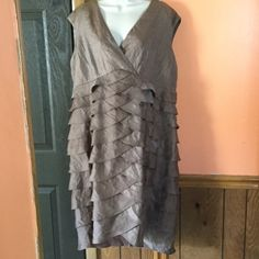 "Jessica Howard Taupe Tiered Dress Very good condition. There is a tiny pull on the front. Length- 43"". Bust area across front- 22 1/2"". Waist across front- 21 1/2"". Jessica Howard Dresses"