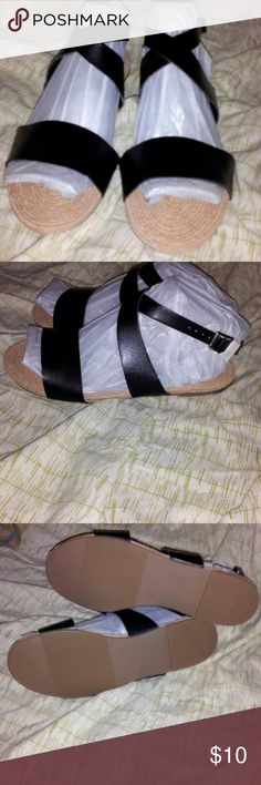 NWOT Old Navy Strappy Sandals Brand New Black Flat Old Navy Shoes