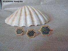 Items similar to Ornament beads Miyuki 2 piece gold and green handwoven Bohostyle Bohemian boho chic on Etsy Loom Bracelet Patterns, Bead Loom Bracelets, Miyuki Beads, Loom Beading, Turquoise Beads, Bead Weaving, Diy Jewelry, Boho Fashion, Boho Chic