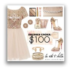 """""""Dress Under $100"""" by mizzura ❤ liked on Polyvore featuring Chi Chi, Maybelline, Jessica McClintock, Lauren Ralph Lauren, Kendra Scott, Christian Louboutin, Vince Camuto, Too Faced Cosmetics and Elizabeth Arden"""