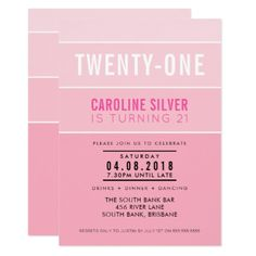 #stripes - #OMBRE STRIPE 21ST birthday party INVITE chic pink