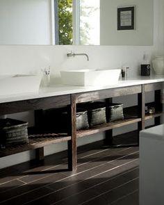 Dark Wood & White Bathroom