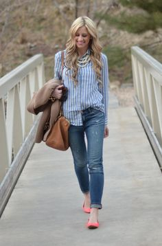 Preppy Spring Style with Bright Flats