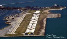 Meigs Field on the morning of the destruction. March 30, 2003, Mayor Richard Daley sent bulldozers to tear-up the field under the guise of 9/11 security concerns, a dubious claim since large airliners never used Meigs. Ironically, the airport's closure also closed the tower on the field thus removing controlled airspace over the downtown area that only exists when the tower is open.   ChicagoHistory — at Northerly Island Park.