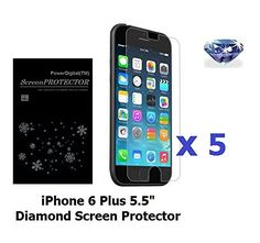 PowerDigitalTM 5 Pack iPhone 6 Plus 55 Diamond Sparkling Glitter Screen Protector with Lint Cleaning Cloth Retail Packaging -- Want to know more, click on the affiliate link Amazon.com.