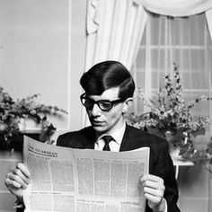 A young Stephen Hawking reads.