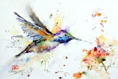 Set of 2 HUMMINGBIRD Watercolor Prints by Dean by DeanCrouserArt