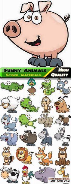 Забавные милые животные, птицы и рептилии - Векторный клипарт | Animals vector