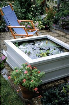 A Pond for Your Patio This water garden is fairly inexpensive, easy to assemble, and movable, and theres no digging required. Patio Pond, Diy Pond, Ponds Backyard, Backyard Patio, Garden Pond, Garden Fountains, Garden Fences, Diy Patio, Garden Tips