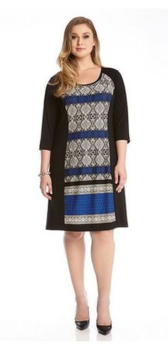 BLUE MOON PLUS SIZE GEOMETRIC PANEL WORK DRESS #Karen_Kane #Blue #Moon #Black #Cobalt #Grey #Multicolor #Geometric #Blue_Moon #Handkerchief_Top #Comfy #Chic #Plus_Size_Fashion #Plus_Size_Dresses #Plus_Size_Work_Dresses