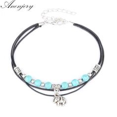 Anenjery Hot Sale Beach Jewelry Tibetan Elephant Pendant Beads Anklet Foot  Leather Chain Ankle Bracelet B56Anklets 64c777c2f4eb