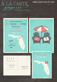 Florida - Your State - Wedding Invitation And Rsvp Set With Adirondack Beach…