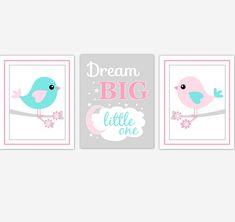 Birds Baby Girl Nursery Wall Art Pink Teal Aqua Baby Nursery Decor Prints Home Decor Dream Big Little One Baby Girl Nursery Decor, Girl Decor, Baby Wall Art, Nursery Wall Art, Ocean Nursery, Baby Art, Nursery Quotes, Personalized Wall Art, Aqua