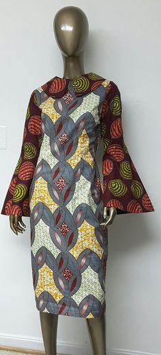 Multi African Wax Print Lined Dress. Womens by NanayahStudio