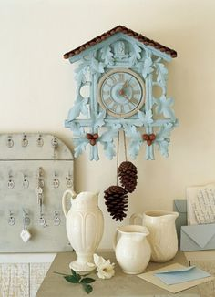 cuckoo clock. Find old clock at thriftstore and paint hang in kitchen ode' to living in Germany.