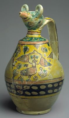 Animal-spouted pitcher, 9th–10th century Found at Iran, Nishapur, Sabz Pushan, 6D, Zir-i Zamin Earthenware; polychrome decoration under transparent glaze (buff ware)
