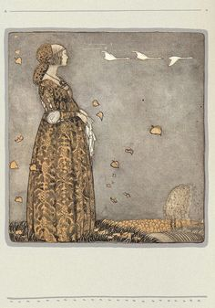 The lady looked longingly at the three white birds on the wall. One bird for one child, each flying away like so many flocks towards the south for an eternal winter. John Bauer, Children's Book Illustration, Book Illustrations, Fairytale Art, Artist Art, Illustrators, Fairy Tales, Fine Art, Troll