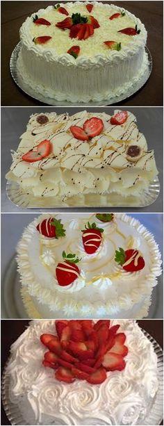 BOLO BRIGADEIRO BRANCO COM MORANGOS ❤️ VEJA AQUI>>>Bata as claras em neve e reserve Bata as gemas com o açúcar e a metade do leite, até formar um creme bem claro #receita#bolo#torta#doce#sobremesa#aniversario#pudim#mousse#pave#Cheesecake#chocolate#confeitaria