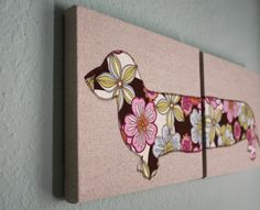 Dachshund wall hanging - Two 8x10 panels in chocolate floral print. $45.00, via Etsy.