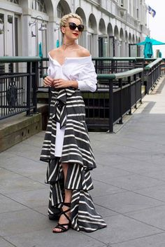 summer outfit, summer party outfit, summer wedding outfit, summer cocktail outfit, night out outfit, date night outfit, gala outfit - white off the shoulder dress, black stripe ruffle maxi skirt, black lace up sandals, black cat eye sunglasses