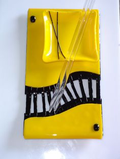 OOAK - Yellow/Black 1 - Fused Glass Plate - Sushi Set with Glass Chopsticks