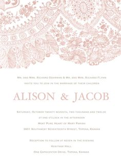 Blush Lace Wedding Invitation  Clean & Simple by BrossieBelle, $1.28.  Change the background to tan and the lace to Tiffany Blue, wording: white.