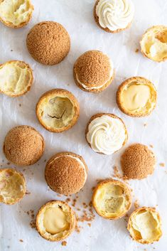 Choux au Craquelin - Cream Puffs with Passionfruit Cream and Passionfruit Whipped Cream. Crispy, light cream puffs, topped with crunchy craquelin, are filled with a tart passionfruit cream, then toppe Köstliche Desserts, Delicious Desserts, Dessert Recipes, Eclairs, Profiteroles, Pastry Recipes, Baking Recipes, Dessert Parfait, Passionfruit Recipes