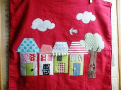 applique houses - @Sarah Chintomby Reams you should applique dish towels and sell them!  how cute!