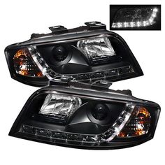 ( Spyder ) Audi A6 02-04 Projector Headlights - Halogen Model Only (not compatible with Xenon/HID Model ) - DRL - Black - High H1 (Included) - Low H1 (Included)