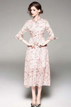 1/2 sleeve bell sleeve large swing floral midi dress
