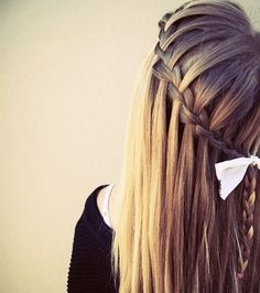 Waterfall braid- brunette- pink bow for full cute look