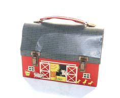 Red Barn Metal Lunch Box by Thermos - Vintage Tin Lunch Box - 50% Off Sale