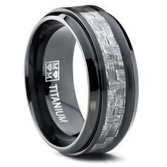 9MM Black Titanium Men's Wedding Band Ring with Wide Gray Carbon Fiber Inlay, Comfort Fit Size 7