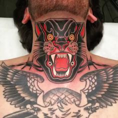 They hear me roar - incredible pantha neck tattoo, literally looks by Tattoo Shirts, Boy Tattoos, Badass Tattoos, Black Tattoos, Body Art Tattoos, Tattoo Ink, Tatoos, Tatoo Neck, Throat Tattoo