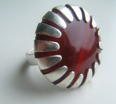 ring red carnelian star in sterling silver handmade by by lolide, $138.00
