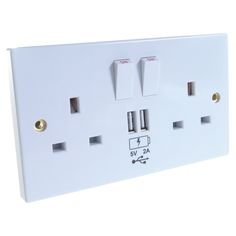 Double plug sockets with built in USB chargers.