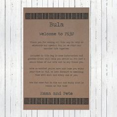Destination Wedding Welcome Note   Fijian by WanderlustWeddings, $15.00