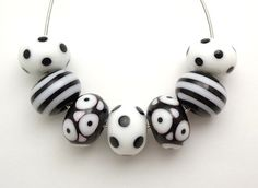 Black & White Artisan Handmade Lampwork Glass Beads by imakebeads. $20.00, via Etsy.