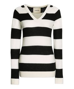 Take a look at this Ink Black Stripe Cashmere V-Neck Sweater today!