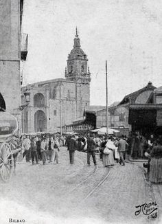 Bilbao, church of San Antón and old market, ca. 1900